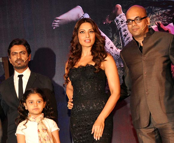 Suparn Verma with Bipasha Basu, Nawazuddin Siddiqui and Doyel Dhawan at the Aatma trailer launch earlier this month