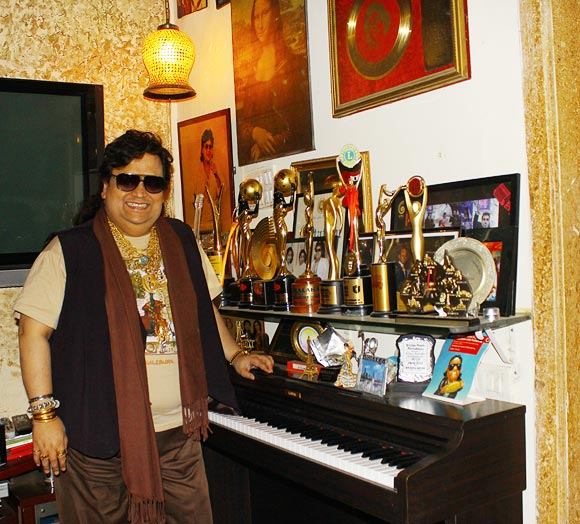 Bappi Lahiri with his Trophies