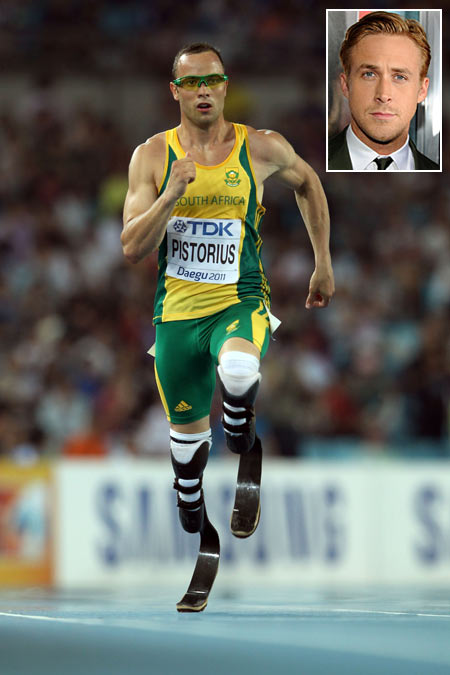 Oscar Pistorius. Inset: Ryan Gosling