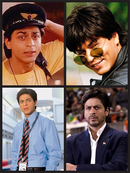 Shah Rukh Khan in (clockwise from top): Kabhi Haan Kabhi Naa, Dilwale Dulhaniya Le Jayenge, Chak De! India and Swades