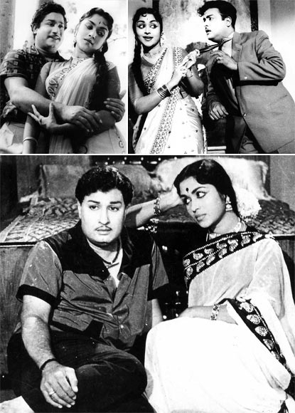 Saroja Devi with  Sivaji Ganesan in Vedi Velli, with Gemini Ganesan in Kalyana Parisu, and with MGR in Periya Eatahtu Pen