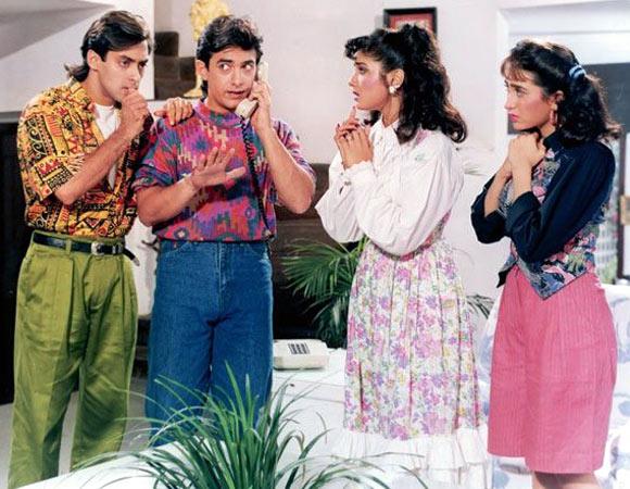 Salman Khan, Aamir Khna, Raveena Tandon and Karisma Kapoor in Andaz Apna Apna