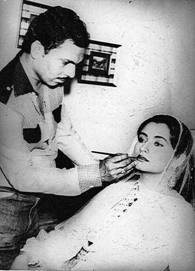 Shashikant Mhatre applies make-up to Salma Agha on the sets of Nikaah