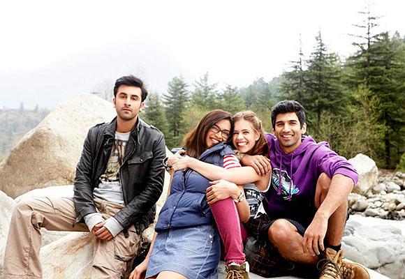 Ranbir Kapoor, Deepika Padukone, Kalki Koechlin and Aditya Roy Kapur in Yeh Jawaani Hai Deewani