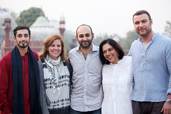 Riz Ahmed, producer Lydia Dean Pilcher, author and screeplay writer Mohsin Hamid, Mira Nair, and Liev Schreiber in The Reluctant Fundamentalist