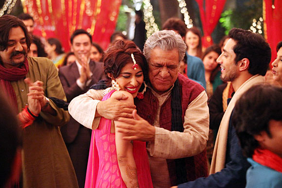 Chandrachur Singh, Meesha Shafi, Om Puri and Riz Ahmed in The Reluctant Fundamentalist