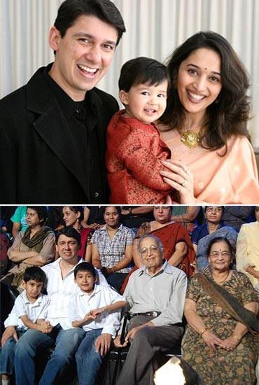 Ram Nene and Madhuri Dixit with Arin. Bottom: Ram Nene with Arin, Ryan and Madhuri's parents