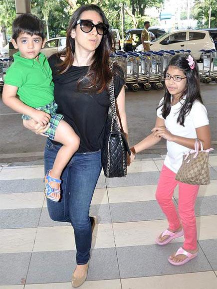 Karisma Kapoor with Kiaan and Samaira