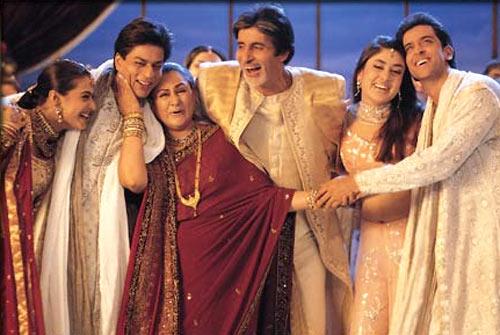 Kajol, Shah Rukh Khan, Jaya Bachchan, Amitabh Bachchan, Kareena Kapoor and Hrithik Roshan in Kabhi Kushi Kabhie Gaam