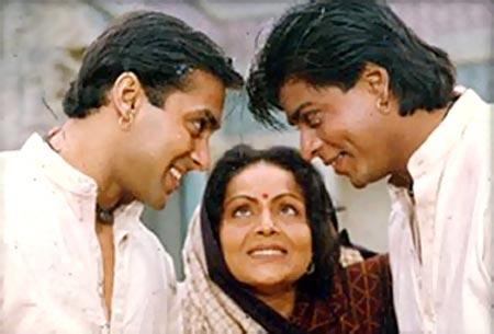 Salman Khan, Raakhee, Shah Rukh Khan in Karan Arjun