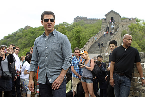 Tom Cruise stands on the Great Wall in Beijing