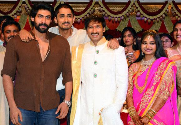 Rana Daggubati and Siddharth with Gopichand and Reshma