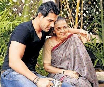 John Abraham with his mother Firoza Abraham