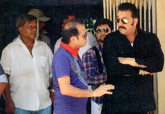 Sanjay Dutt on the sets of Sher
