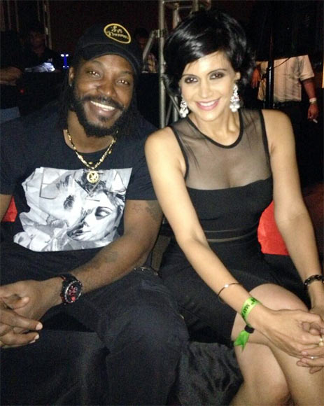 Chris Gayle and Mandira Bedi