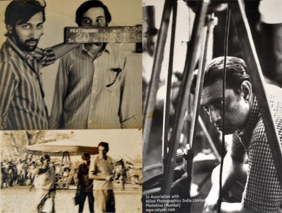 Clockwise: Tinnu Anand with Dhritiman Chatterjee on Pratidwandi sets, Satyajit Ray, Simi Garewal on Aranyer Din Ratri sets