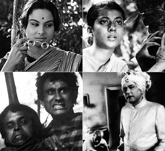 Clockwise: Madhabi Mukherjee in Charulata, Uma Dasgupta in Pather Panchali, Chhabi Biswas in Jalsaghar, Tapan Chatterjee and Robi Ghosh in Goopy Gyne Bagha Byne