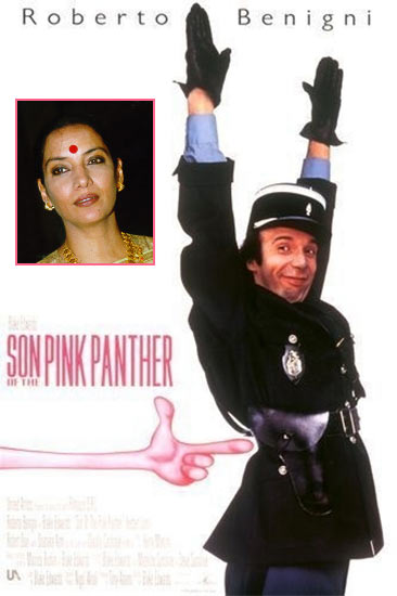Movie poster of Son Of The Pink Panther. Inset: Shabana Azmi