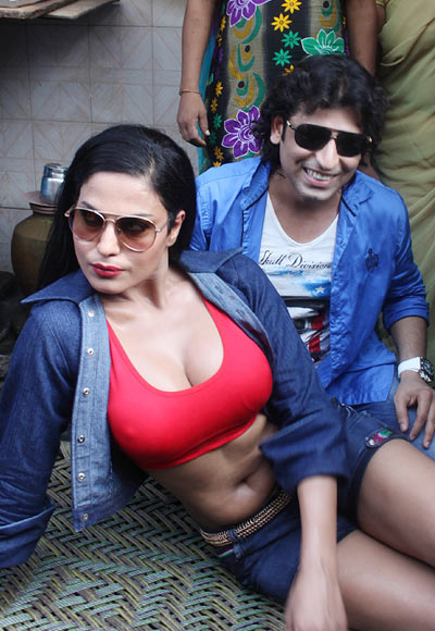 Veena Malik with costar Rajan Verma