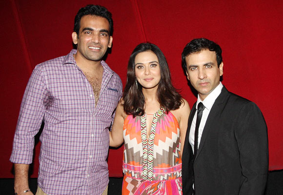 Zaheer Khan, Preity Zinta and Rehaan Malik