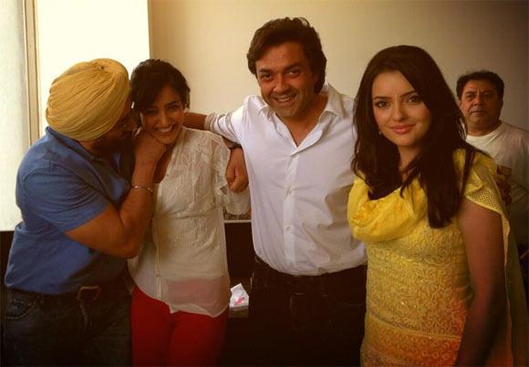 Sunny Deol, Neha Sharma, Bobby Deol and Kristina Akheeva