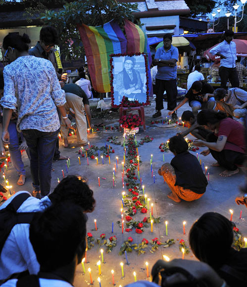 Mourners from the gay community say goodbye
