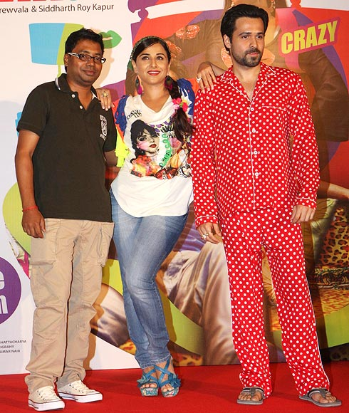 Rajkumar Gupta, Vidya Balan and Emraan Hashmi at Ghanchakkar film promotions