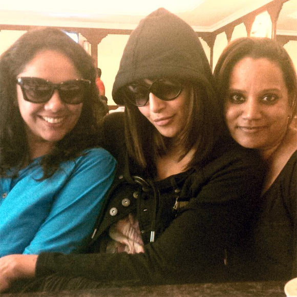 Bipasha Basu with her make up artist Divya and hair stylist Madhu