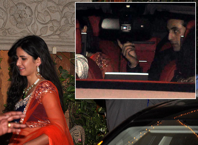 Katrina Kaif. Inset: Ranbir Kapoor in the car