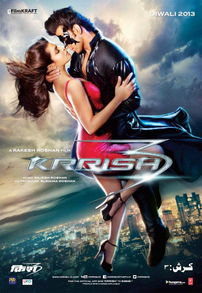 Hrithik roshan and Priyanka Chopra in Krrish 3 poster
