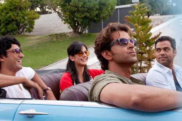 Farhan Akhtar, Katrina Kaif, Abhay Deol, Hrithik Roshan in Zindagi Na Milegi Dobara.