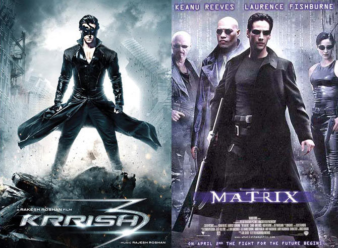 The Krrish 3 and Matrix posters