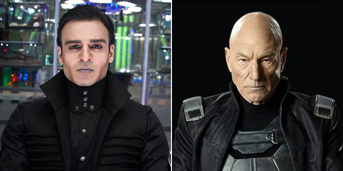 Vivek Oberoi as Kaal and Patrick Stewart as Professor Charles Xavier