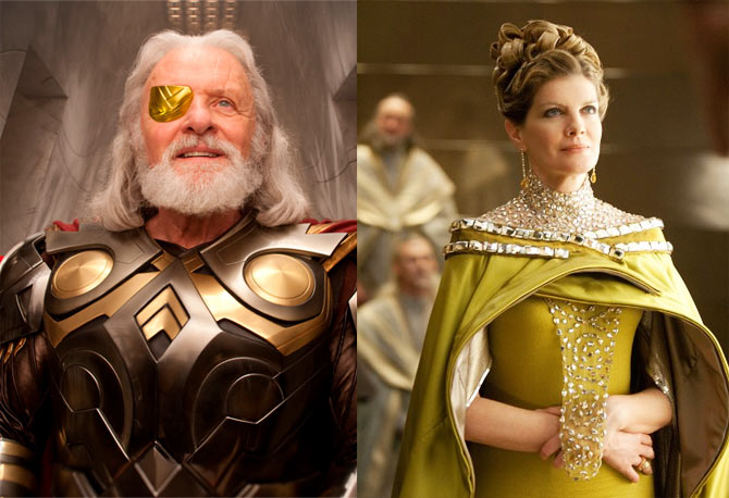 Thor's parents, Odin and Frigga played by Sir Anthony Hopkins and Rene Russo