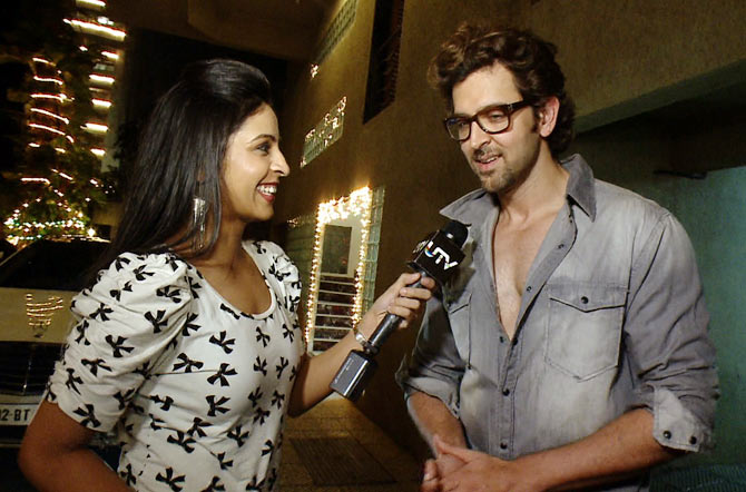 Hrithik Roshan with host Garima