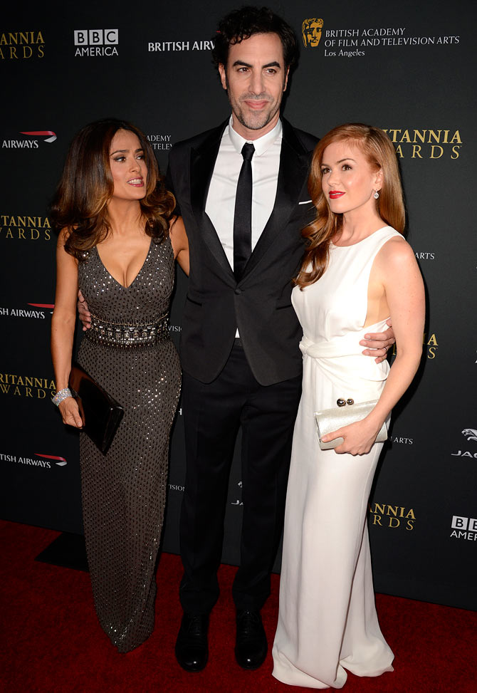 Salman Hayek, Sacha Baron Cohen and Isla Fisher