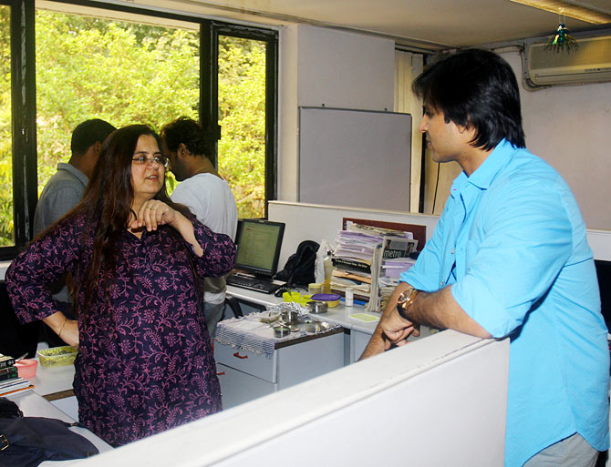 Vivek Obeori with a Rediff staffer