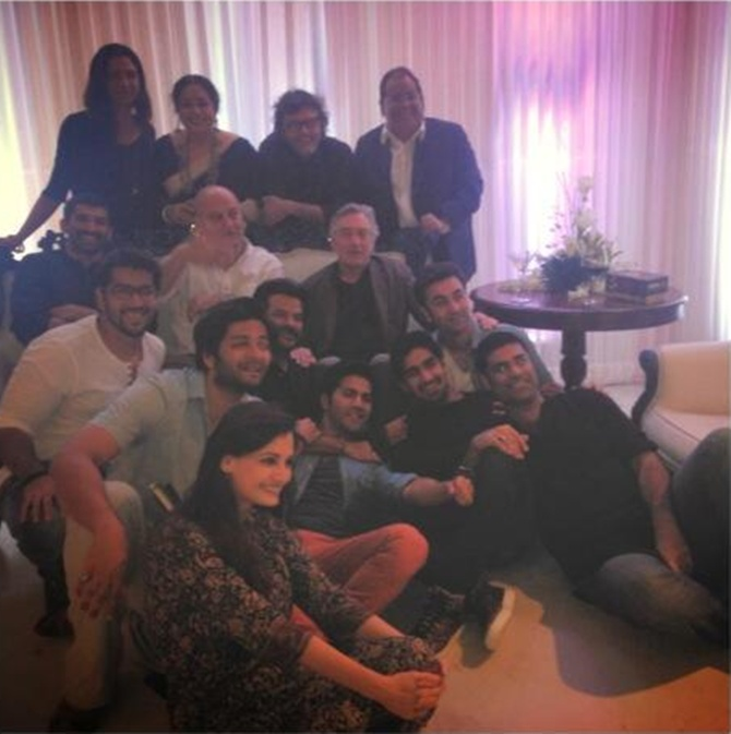 Clockwise from left: Dia Mirza, Ali Fazal, Rohit Dhawan, Aditya Roy Kapur, Drena De Niro, Kirron Kher, Rakeysh Omprakash Mehra, Satish Kaushik, Ranbir Kapoor, Ayan Mukerji, Sikandar Kher Varun Dhawan with Robert De Niro, Anupam Kher and Anil Kapoor in the centre