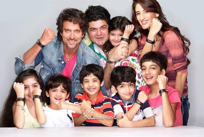 Farah Khan Ali, Hrithik Roshan and Dabboo Ratnani with their kids