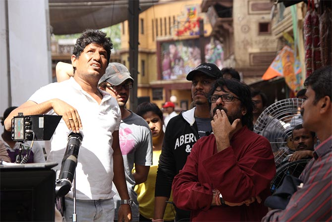 Ravi Varman and Sanjay Leela Bhansali on the sets Ram Leela
