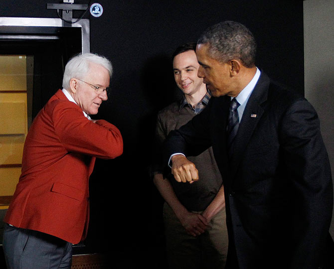 Steve Martin, Jim Parsons with Barack Obama