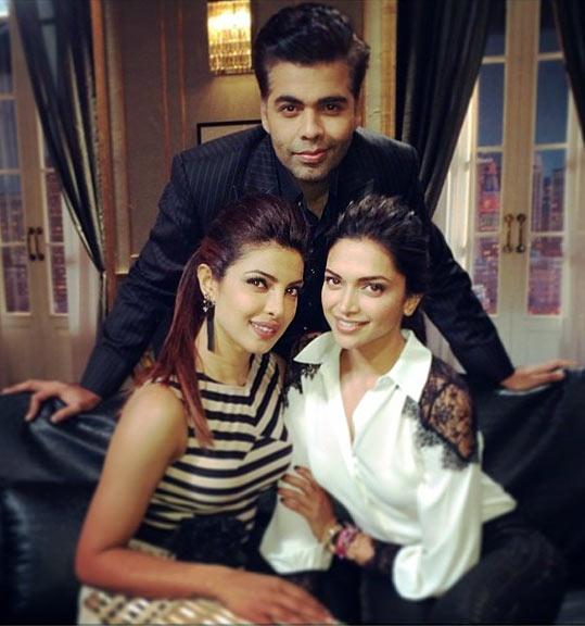 Priyanka Chopra, Karan Johar and Deepika Padukone