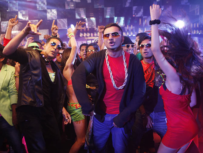 Akshay Kumar and Honey Singh in Boss