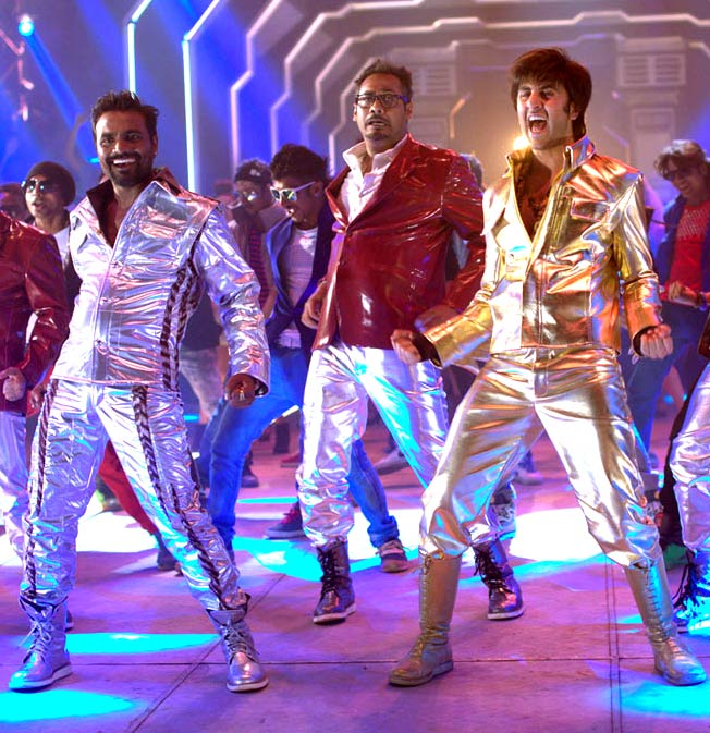 Remo D'Souza, Abhinav Kashyap and Ranbir Kapoor in the title track of Besharam