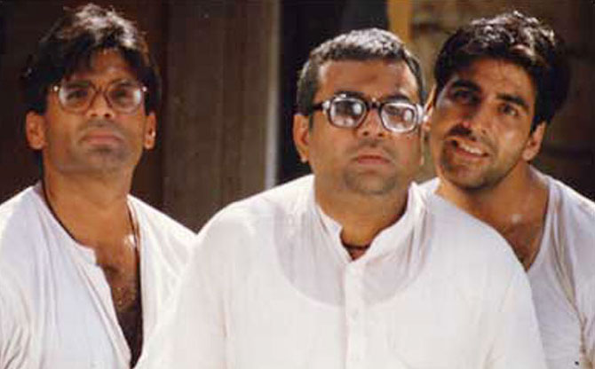 Sunil Shetty, Paresh Rawal and Akshay Kumar in Hera Pheri