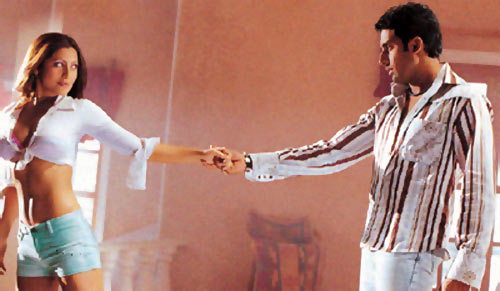 Rimi Sen and Abhishek Bachchan in Dhoom