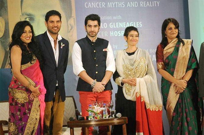 Yuvraj Singh and Manisha Koirala with Rituparna Sengupta and Subroto Mukherjee.