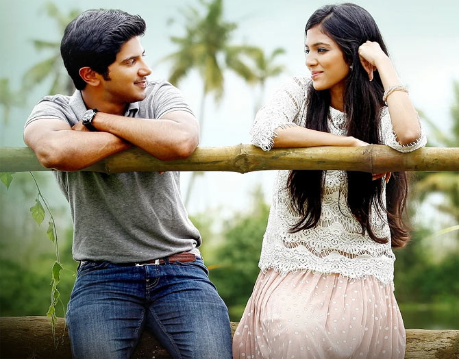 Dulquer Salman and Malavika Mohanan in Pattam Pole