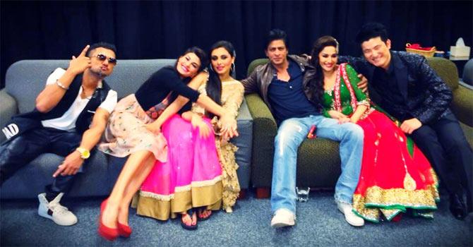 Yo Yo Honey Singh, Jacqueline Fernandez, Rani Mukerji, Shah Rukh Khan, Madhuri Dixit and Meiyang Chang