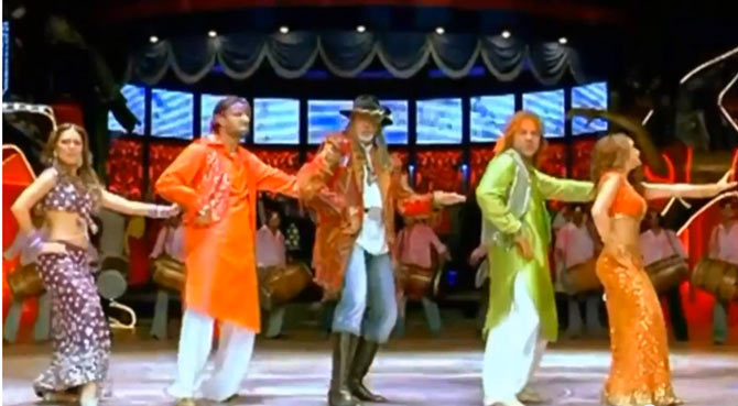 Preity Zinta, Abhishek and Amitabh Bachchan, Bobby Deol and Lara Dutta in Jhoom Barabar Jhoom